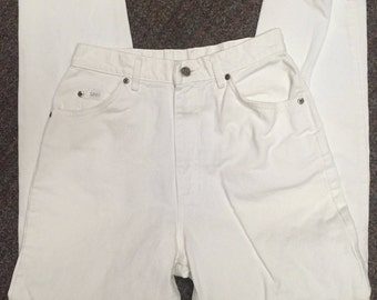 Vintage Lee 80's 90's Women's Mom White Jeans Denim Size 12L High Waist