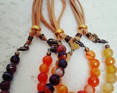 Add-on bracelet,BEAUTIFUL faceted agate stones in Browns, Yellows, or Orange, stacking bracelets, layering bracelets