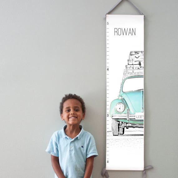Custom/ Personalized VW Beetle/Bug canvas growth chart in blue