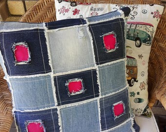 Denim patch cushion
