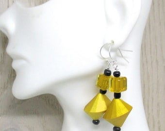 Yellow Dangle Earrings, Goldenrod Jewelry, Geometric Yellow Earrings, Golden Earrings, Matching Necklace Available, Gift for Her 2in