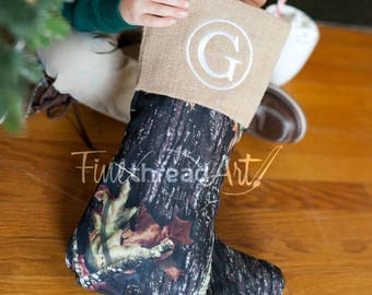 Burlap and Camouflage Christmas Holiday Stocking with Monogram or Name Embroidered