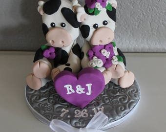 Custom Cow Wedding Cake Topper