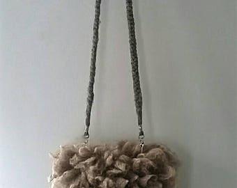 "Crossbody bag fur purse clutch felted ""sheepskin"" sheep skin sheep friendly Shetland fleece Noel"