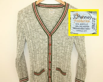 JCPenney Fashions vintage women's cable knit cardigan sweater S/M green red white 70s 80s