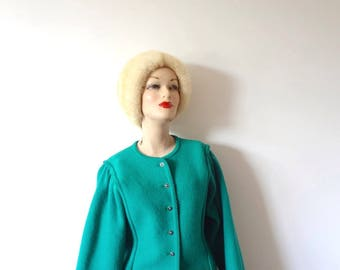 Vintage Green GEIGER Sweater - 1980s wool cardigan from Austria