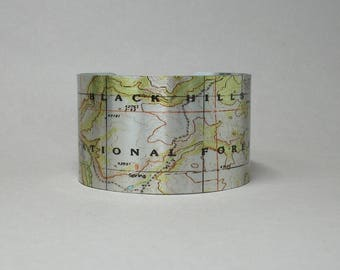 Black Hills National Forest South Dakota Map Cuff Bracelet Unique Gift for Men or Women