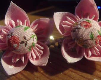 Pair Extra Small Pink Floral Polkadot Flower Fabric Origami Flower Hair Accessories