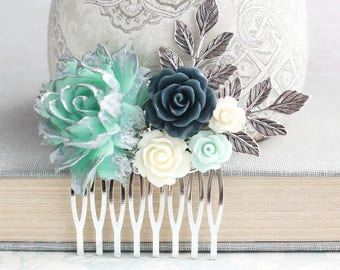 Aqua Mint and Silver Hair Comb Seafoam and Navy Wedding Floral Hair Piece Bridesmaid Gift Silver Branch Romantic Bridal Hair Gift for Her