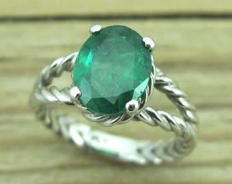 Emerald Engagement Ring, Oval Emerald Braided Rope Engagement Ring, White Gold Emerald Engagement Ring, Antique Emerald Ring, Emerald Ring