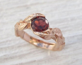 Rose Gold Garnet Leaf Engagement Ring, Garnet Leaves Engagement Ring, Rose Gold Garnet Ring, January Birthstone, Garnet Engagement Ring