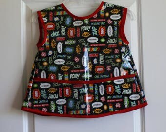 LAST ONE Sleevless Kids Art Smock Childrens Craft Apron with Super Hero Print