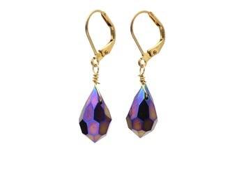 Bronze and Purple Faceted Teardrop Swarovski Crystal Earrings