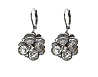 Gunmetal Crystal Flower Earrings Tiny Flower Drop Earrings