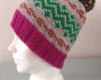 Green Zig Zag Fair Isle Beanie Hat - Grey Pink Brown Modern Knitted Merino Wool Pom Pom Unisex Winter Accessory by Emma Dickie Design