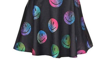 Black Skirt With Neon Color Smiley Faces - Sizes Available: Small, Medium And Large