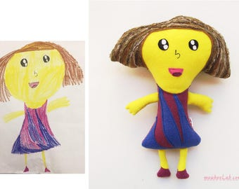 Personalized your kid's drawing Custom plush from art Stuffed doll - MADE TO ORDER