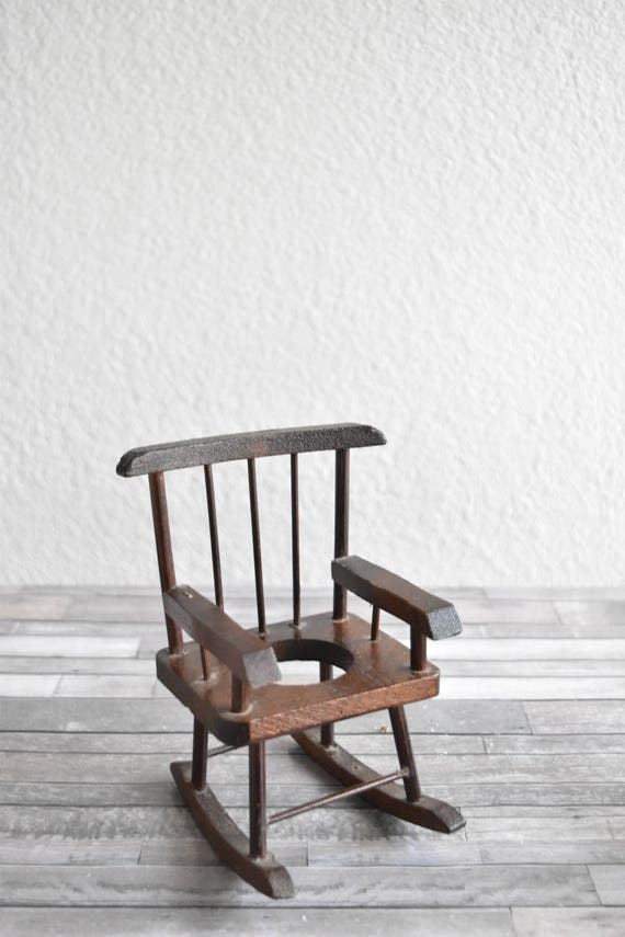 vintage miniature doll wood rocking chair / air plant holder