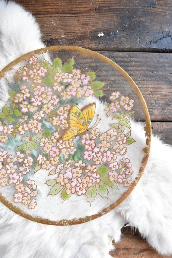floral flower hand painted glass wall hanging plate / butterflies / wall art decor