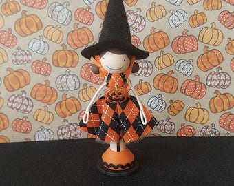 Halloween Witch Miniature Wooden Clothespin Doll