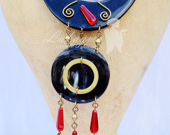 Matte Black Cow Horn African Necklace,Red African Necklace,African jewelry