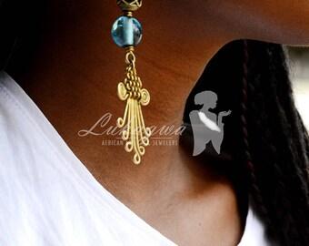 Blue Brass Drop Earring,Afrocentric Blue Brass Earring,Ethnic Blue Drop Earring