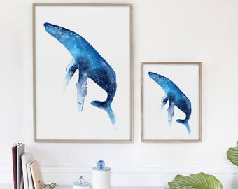 Humpback Whale Print. Humpback Print. Ocean Art Print. Watercolor Whale Artwork. Blue Whale Print. Watercolor Whale Painting. Nautical Art.