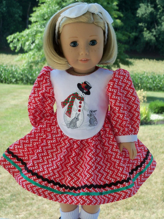 "18"" Size/  Embroidered Christmas Dress Fits  American Girl or Other 18"" Doll"