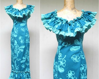 Vintage 1970s Hawaiian Dress / 70s Princess Kaiulani Bombshell Fishtail Mermaid Maxi / Medium