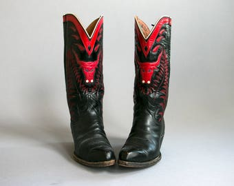 Vintage 1950's Bull Head Embroidered Red and Black Cowboy Boots/ Rockabilly / Women's Western / Size 6 - 6 1/2 US
