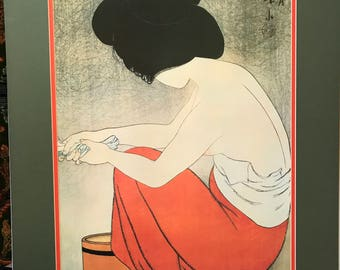 Shinsui Ito Print - Young Woman Washing - 1980s Unframed British Museum Exhibition Poster - Japanese Print Since 1900 Old Dreams New Visions