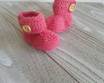 Girl Baby Booties 0-3 Months