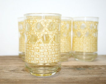 Vintage Libby Bamboo Pattern Juice Glasses - Set of 4, Libby Glassware
