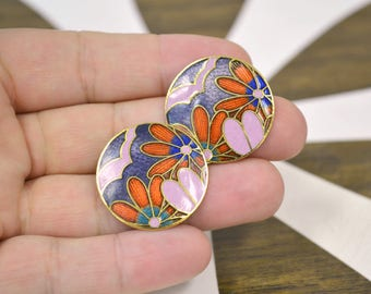 1980s Floral Circle Cloisonne Post Back Earrings