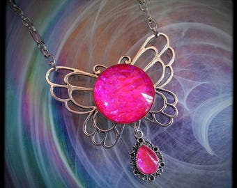 Pink Gem Butterfly Wings Victorian Necklace, Handmade Glass Opalite Neon Pink, Renaissance Necklace, Color-Shift, Sailor Moon Inspired
