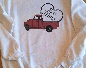 Valentine truck sweatshirt, Farmhouse Valentine sweatshirt, Red truck sweatshirt