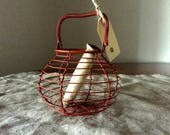 Reserved for Tara. VINTAGE FRENCH red wire basket. Vintage kitchen / display.