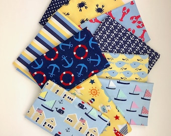 Nautical Bundle of 10 Fat Quarters, Nautical fabric 100% cotton fabric for Quilting and general sewing projects.