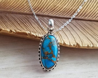 Turquoise Necklace, Turquoise Sterling Silver Necklace, Turquoise Pendant Necklace, Turquoise Jewelry, Blue Turquoise Pendant Necklace