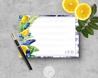 "A2 Flat Notecard Set - ""Blueberry Lemonade Stripe"""