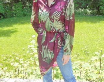 magenta 70s TROPICAL dress / billowy sleeves / sheer /  s, m