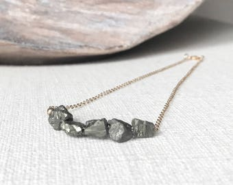 Raw Rough Pyrite Necklace in Gold or Silver