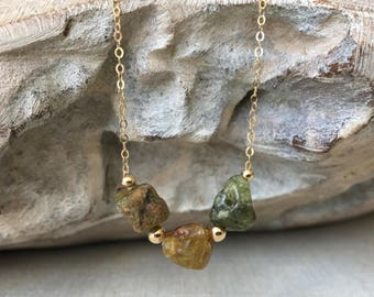 Raw Rough Green Garnet Necklace in Gold or Silver