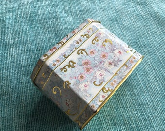 1984 Vintage Blue Gold Pink Metal Cookie Tin Storage Box Container Kitchen Decor Marie Antoinette French Art Country Made in Brazil LR