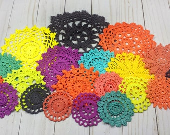 20 Hand Dyed Vintage Crochet Doilies in Black, Orange, Yellow, Green, Purple, 2.5 to 6 inches, Halloween Colors