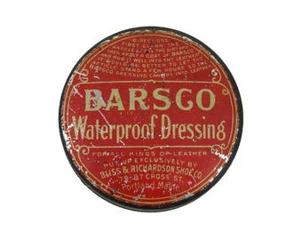 Antique Advertising Tin Barsco Waterproof Dressing Portland Maine Vintage Americana Advertising Tin Made in USA ACTTEAM
