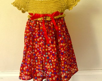 Baby girl crochet top dress yellow and red