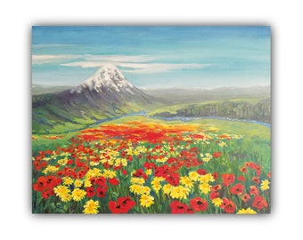 Oil Painting, HIDDEN in a VALLEY, Original Oil Painting not a print, mountain, flowers, meadow, field, daisies, poppies, poppy, landscape