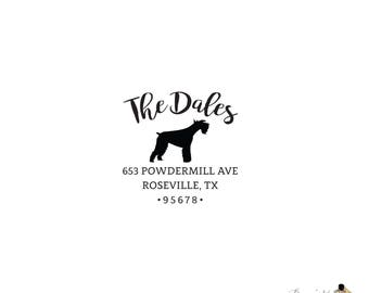 Personalized Custom Return Address Rubber Stamp Or Self-Inking Envelope Office Desk Cards Puppy Animal Schnauzer Dog Breed