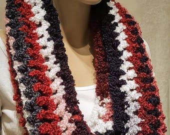 Black Red White Crochet Infinity Scarf,  Crochet Infinity Scarf, Light weight, Oversized Scarf, Crochet Scarf, Black Scarf, Red Scarf, Plush